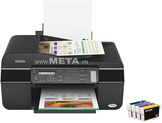 Máy in phun màu đa chức năng EPSON TX 300F Fax thực hiện in ấn, scan, photocopy, fax chuyên nghiệp.