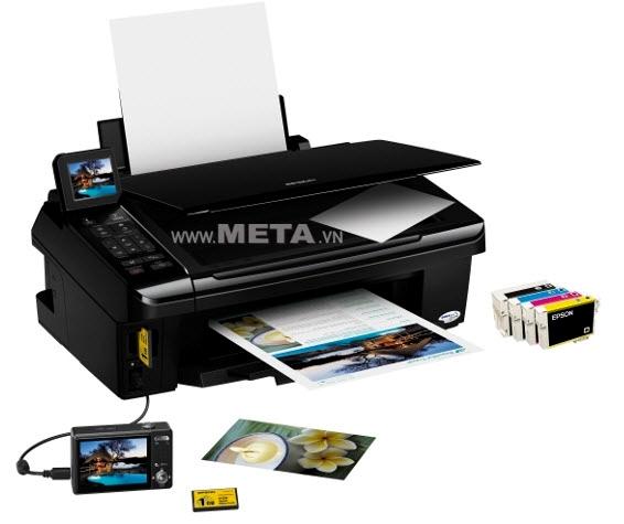 Máy in phun màu đa chức năng EPSON TX 550 Wifi có thiết kế nhỏ gọn, không tốn diện tích sử dụng.