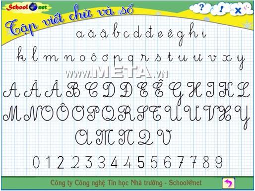 Chức năng tập viết bảng chữ cái tiếng Việt