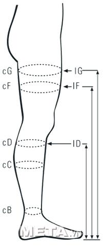 Size vớ điều trị suy tĩnh mạch dạng đùi, hở ngón Class II Cotton Art.M2070A