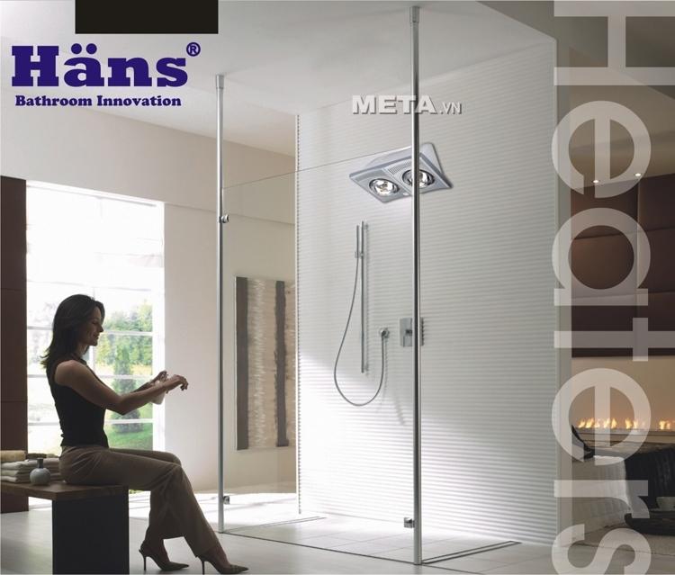 Đèn sưởi nhà tắm Hans 2 bóng được lắp đặt trong phòng tắm