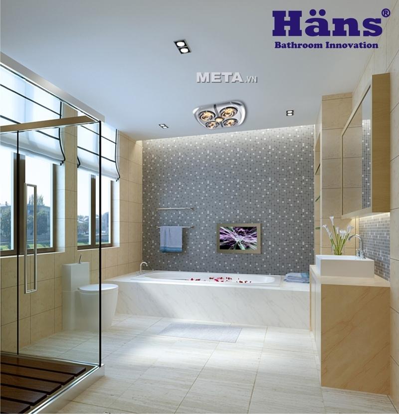 Đèn sưởi nhà tắm - Đèn sưởi hồng ngoại Hans 4 bóng (loại ốp âm)