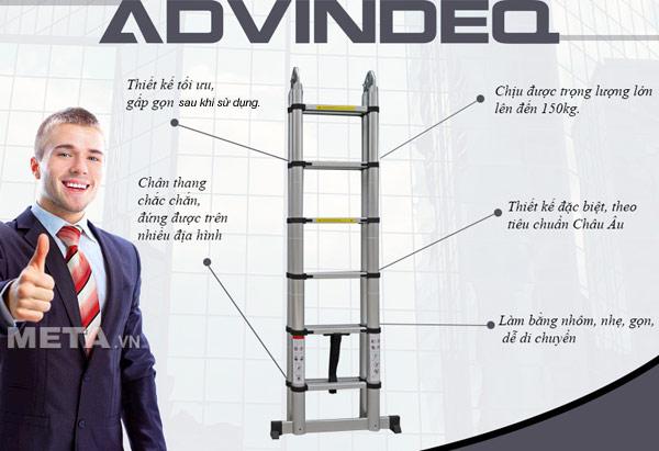 Thang nhôm rút gọn (chữ A) Advindeq ADT706B chân thang lót cao su