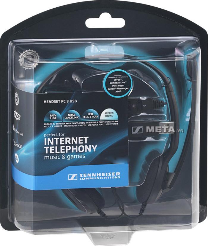 Tai nghe Sennheiser PC 8 USB với tính năng USB plug  và play cho phép bạn dễ dàng kết nối tai nghe với máy tính
