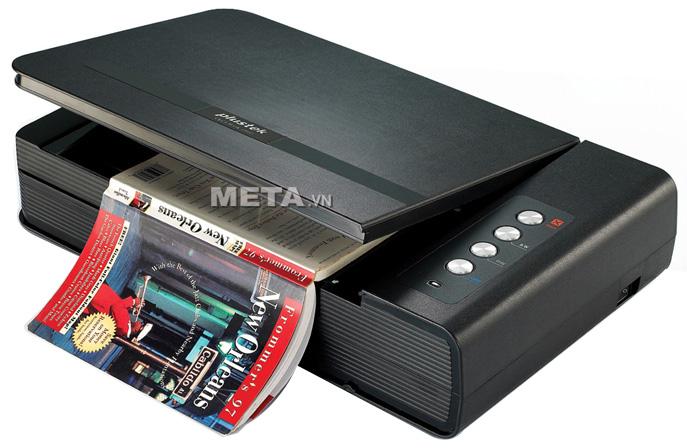 Máy scan Plustek OpticBook 4800 giúp quét sách, báo, tạp trí nhanh khoảng 2500 tờ/ngày.