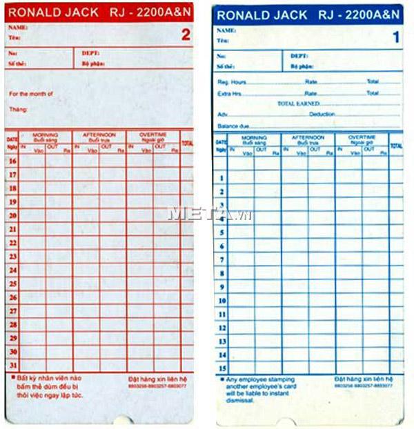 Thẻ giấy chấm công cho máy Ronald Jack