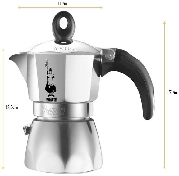 Kích thước thực tế của ấm pha cà phê Bialetti Dama Nuova 3TZ BCM-2152
