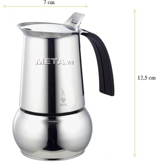 Kích thước của ấm pha cà phê Bialetti Kitty 2TZ Nero BCM-1718
