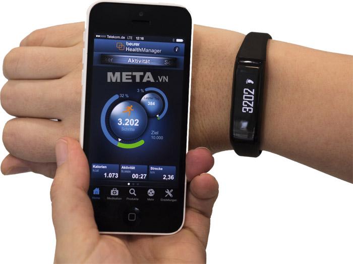 Các dữ liệu đo được từ đồng hồ cảm biến vận động Beurer AS80 dễ dàng kết nối với thiết bị di động