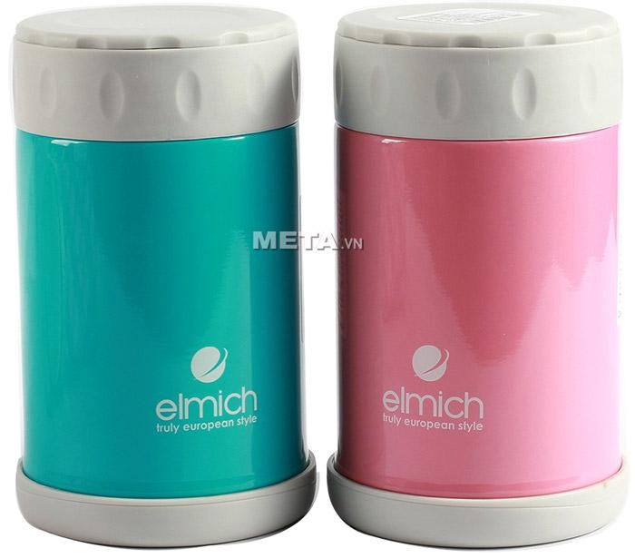Bình đựng thức ăn hút chân không Elmich 500ml EL6844 màu hồng và màu xanh ngọc.