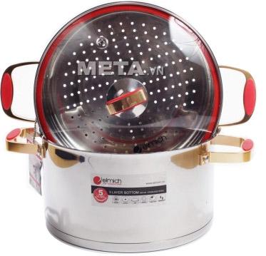 Nồi hấp inox 304 Red Velvet 24cm Elmich 2355585 thiết kế sang trọng, độ bền cao.
