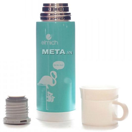 Nắp của bình giữ nhiệt Elmich F5 2246302 inox 304 có thể tháo ra dùng làm cốc uống nước rất tiện lợi.