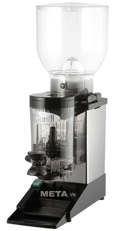 Máy xay cà phê Cunill Space Inox có tên thương hiệu ở phía mặt trước của máy