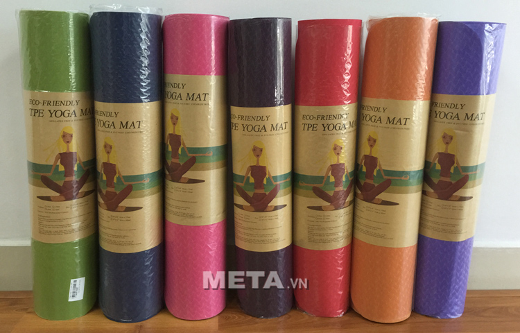 Thảm Yoga TPE Đài Loan 6 ly có nhiều màu sắc lựa chọn: Xanh lá cây, xanh than, hồng, đỏ, tím, màu cam, xanh coban.