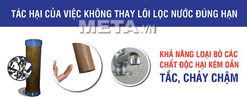 Lõi lọc số 2 - Lõi than hoạt tính giúp loại bỏ các kim loại nặng có trong nước