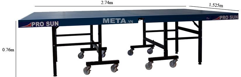 Kích thước bàn bóng bàn Pro sun P22 khi sử dụng.
