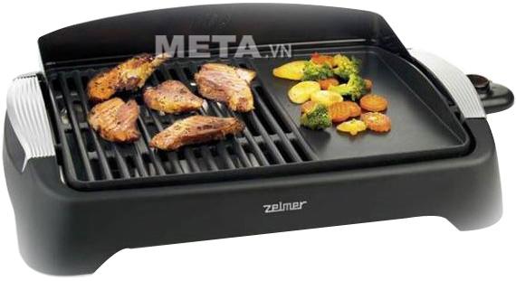 Vỉ nướng Zelmer 40Z012 giúp món nướng không bị cháy khét, khói, bụi và an toàn tuyệt đối cho người sử dụng.