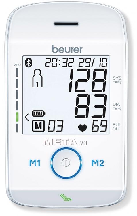 Màn hình đọc kết quả của máy đo huyết áp bắp tay Bluetooth Beurer BM85