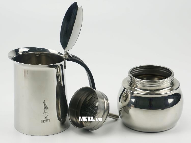 Ấm pha cà phê Bialetti Kitty 10TZ Nero BCM-1715 có thể tháo rời từng bộ phận để vệ sinh sạch sẽ.