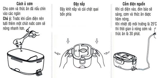 Các bước sử dụng hộp cơm hâm nóng Chefman inox CM-112I