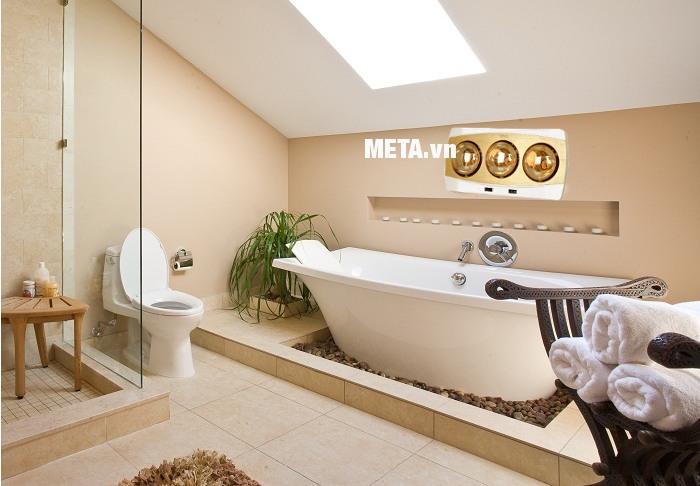 Đèn sưởi nhà tắm Kottmann 3 bóng K3BH không gây khô da, không chói mắt.