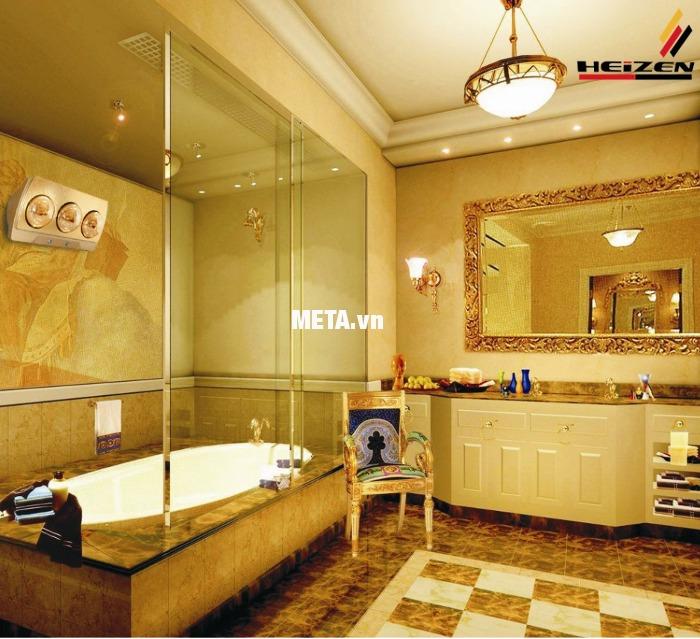 Đèn sưởi nhà tắm 3 bóng có điều khiển Heizen HE3BR có ánh sáng dịu nhẹ thật ấm áp.