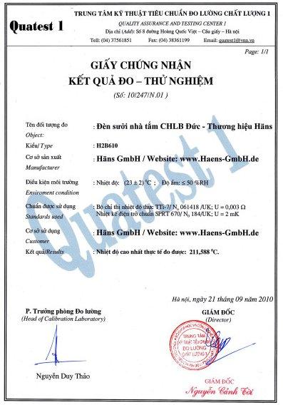 Đèn sưởi nhà tắm Hans được cấp giấy kiểm nghiệm của trung tâm kỹ thuật tiêu chuẩn đo lường chất lượng.