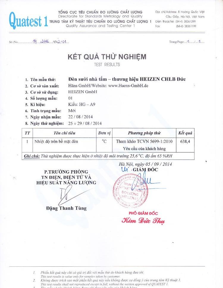 Đèn sưởi nhà tắm Heizen HEIT-5 được tổng cục đo lường chất lượng kiểm định nên rất an toàn.
