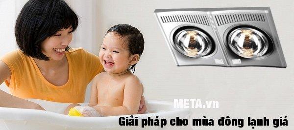 Đèn sưởi nhà tắm hồng ngoại Hans 2 bóng an toàn khi tắm cho bé
