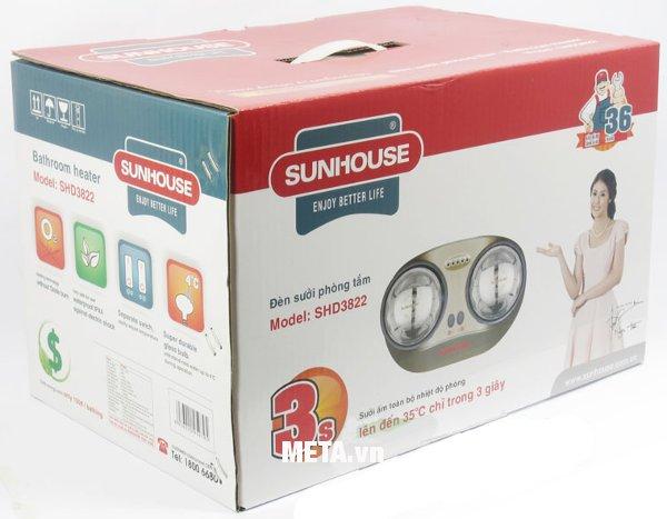 Đèn sưởi nhà tắm Sunhouse SHD3822 giúp giữ ấm da, chăm sóc sức khoẻ tránh khỏi gió lạnh tốt cho cơ thể.
