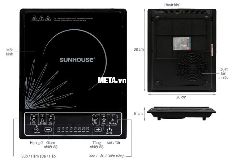 Bếp điện từ Sunhouse SHD6145 có cấu tạo đơn giản