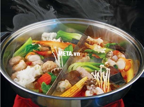 Bếp điện từ Sunhouse SHD6866 có thể dùng ăn lẩu vào mùa đông thật thú vị.