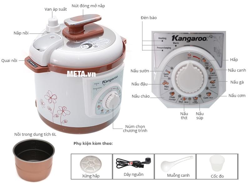 Cấu tạo của nồi áp suất đa năng Kangaroo KG136