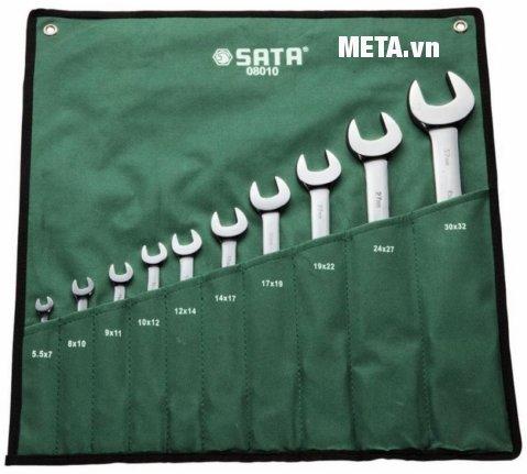 Hình ảnh bộ cờ lê hai đầu miệng 10 chi tiết Sata 08010
