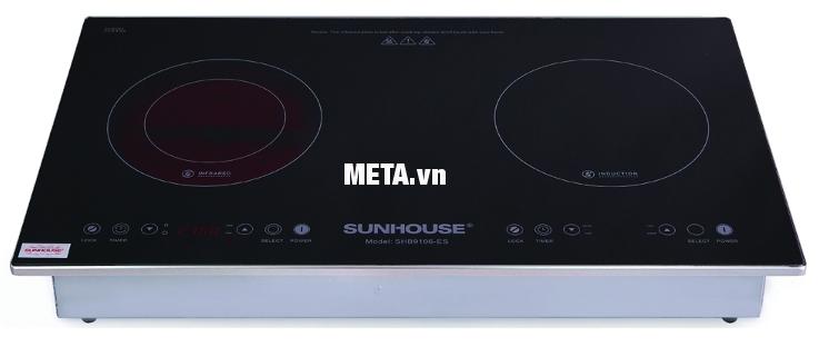 Bếp đôi điện từ hồng ngoại Sunhouse SHB9106-ES thiết kế đẹp, an toàn, dễ vệ sinh.