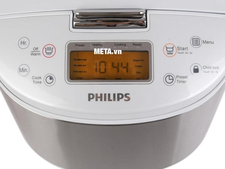 Nồi cơm điện tử Philips HD3077 dễ dàng cài đặt thời gian nấu.