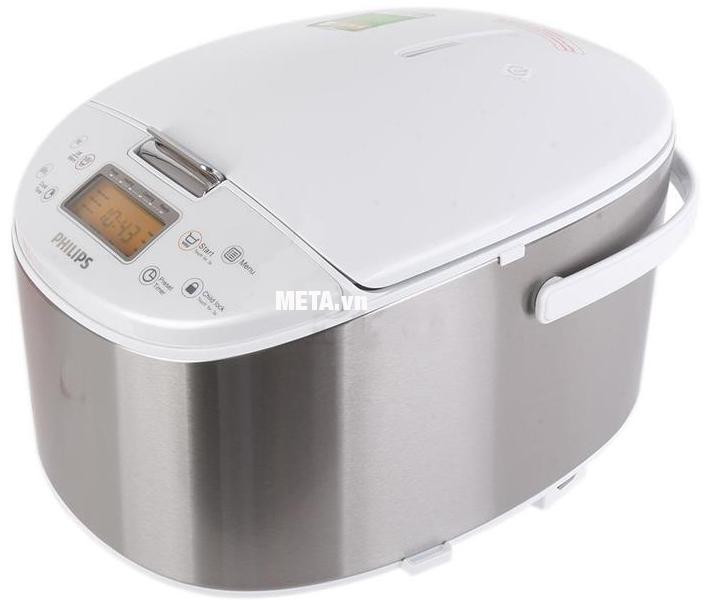 Nồi cơm điện tử Philips HD3077 có màu trắng bạc sang trọng.