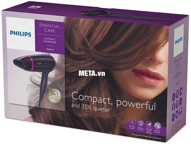 Máy sấy tóc Philips BHD002 hoạt động êm ái, giảm độ ồn 35% so với các máy sấy cùng loại.