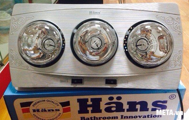 Đèn sưởi nhà tắm hồng ngoại Hans 3 bóng mẫu mã mới