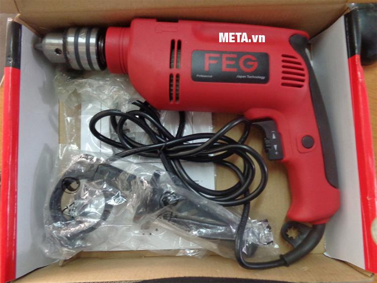 Máy khoan búa FEG EG-517 được đính kèm tay cầm bằng nhựa mềm chắc chắn.