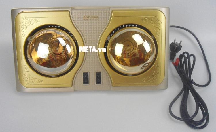 Đèn sưởi nhà tắm Kottmann 2 bóng K2B-H dễ dàng lắp đặt treo trong nhà tắm.