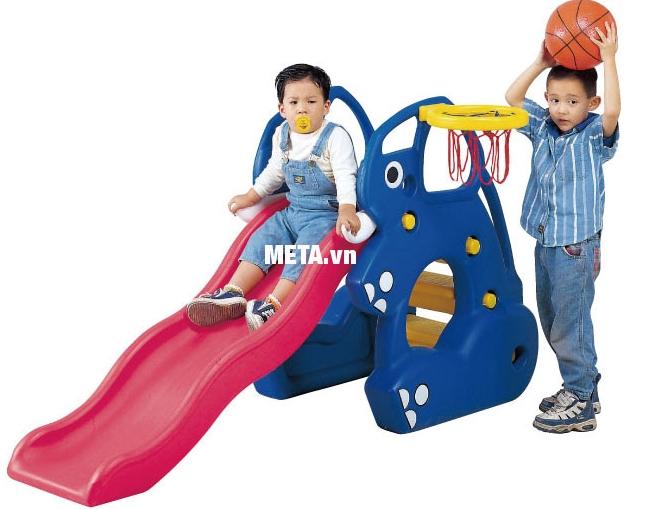 Cầu trượt con voi có rổ bóng SL-02A kết hợp với trò chơi bóng rổ tiện ích.
