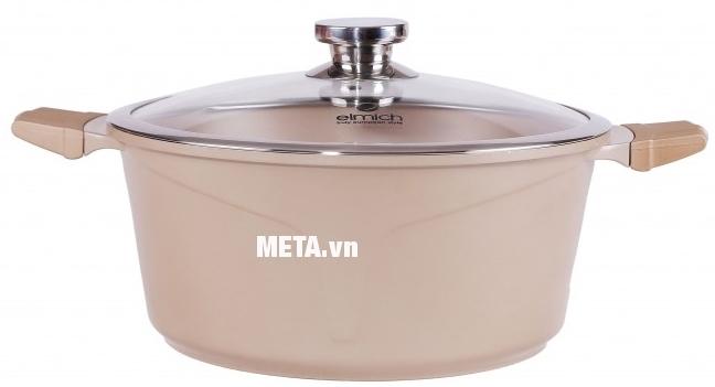 Nồi chống dính Elmich cao cấp Vitaplus Perla EL0343 với thiết kế màu ngọc trai sang trọng.