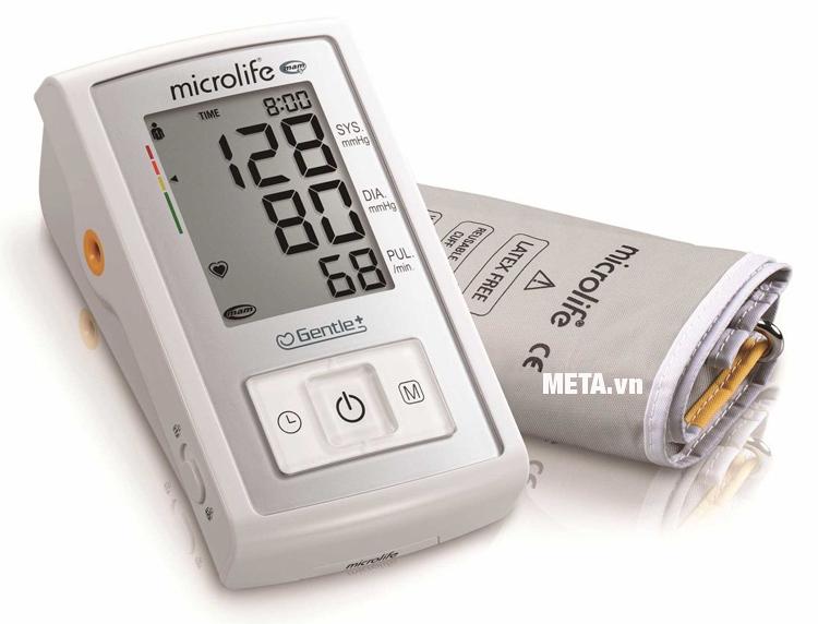 Máy đo huyết áp bắp tay Microlife A3 Basic với màu sắc trắng bạc hiện đại,