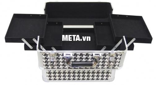 Cốp trang điểm Hando Pro - MakeUp 001 chia thành 3 tầng với nhiều ngăn riêng biệt.
