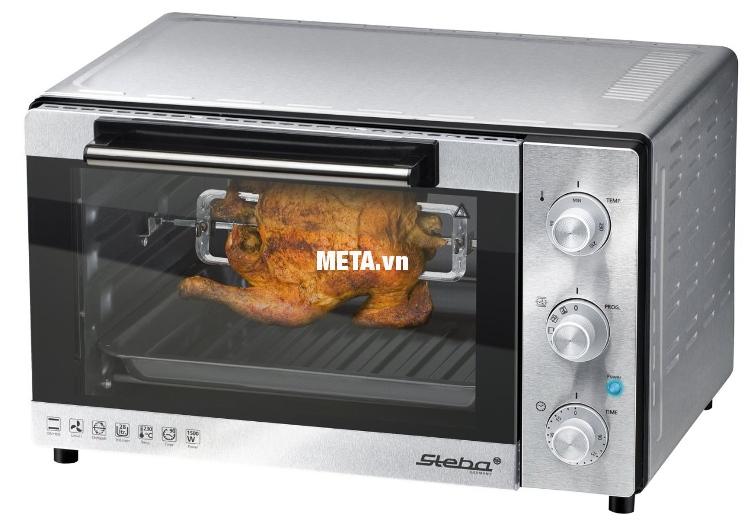 Lò nướng Steba KB28 Eco Line có thể nướng gà nguyên con.