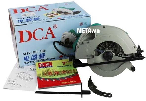 Máy cưa đĩa 1100W DCA AMY185 (M1Y-FF-185) có vỏ hộp thiết kế đẹp mắt.