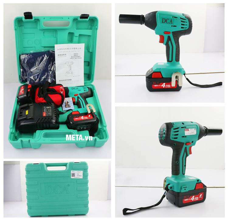 Bộ dụng cụ bên trong hộp đựng máy xiết bu lông dùng pin DCA ADPB16A.