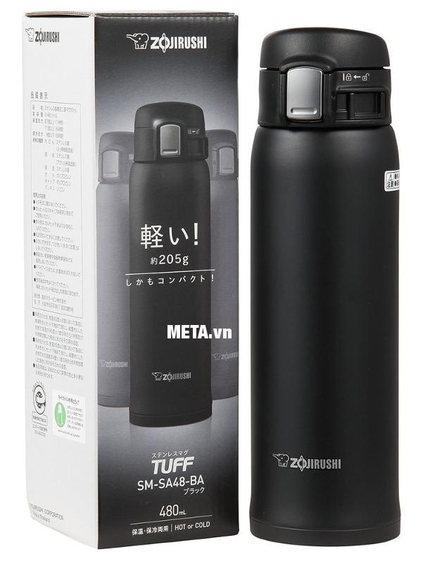 Miệng bình giữ nhiệt nóng lạnh Zojirushi ZOBL-SM-SA48-BA có hộp đựng sang trọng.