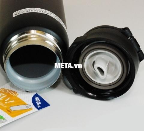 Miệng bình giữ nhiệt nóng lạnh Zojirushi ZOBL-SM-SA48-BA thiết kế rộng có thể cho vừa đá cục, đá bi.